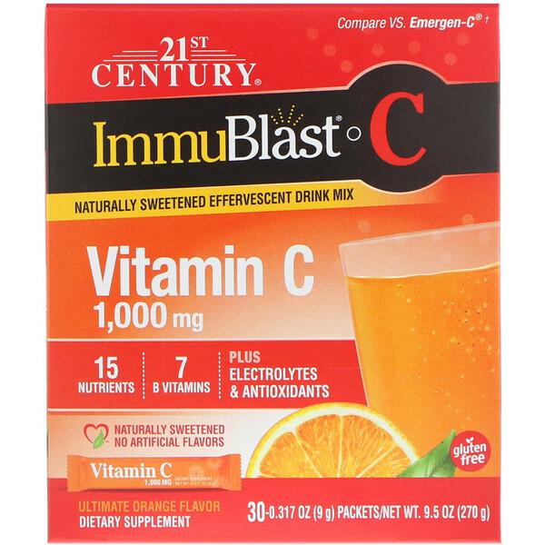 ImmuBlast-C, шипучая смесь, превосходный апельсиновый вкус, 1000мг, 30 пакетиков, 0,317 унций (9 г) в каждом