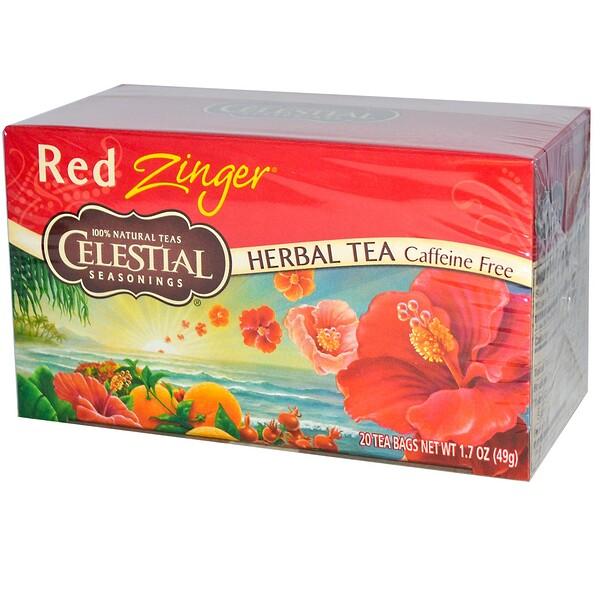 Травяной чай, без кофеина, Red Zinger, 20 чайных пакетиков, 1,7 унций (49 г)