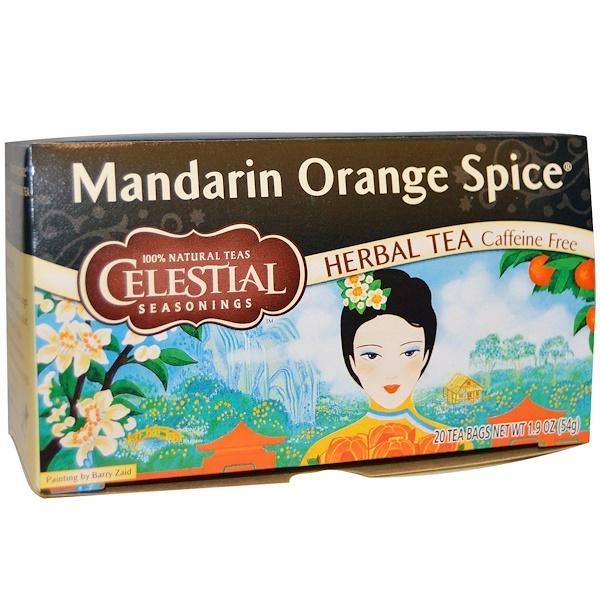 Celestial Seasonings, Травяной чай с мандарином и апельсином, без кофеина, 29 пакетиков, 1.9 унций (54 г) (Discontinued Item)