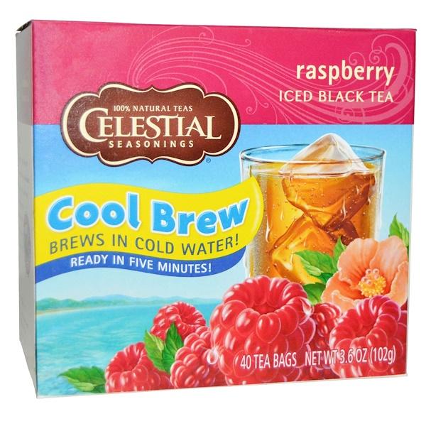 Celestial Seasonings,  Черный холодный чай, малина, 40 пакетиков, 3,6 унции (102 г) (Discontinued Item)