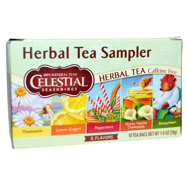 Набор травяных чаев, без кофеина, 5 вкусов, 18 чайных пакетиков, 1,0 унция (30 г)