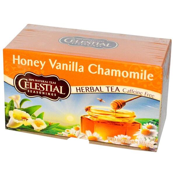Травяной чай, без кофеина, мед, ваниль и ромашка 20 чайных пакетиков, 1.7 унции (47 г)