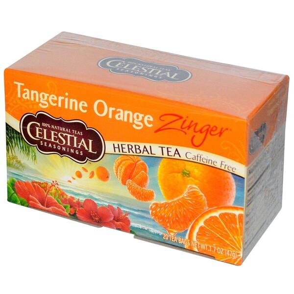 Травяной чай без кофеина Zinger, Мандариново-апельсиновый заряд, 20 чайных пакетиков, 1,7унции (47г)