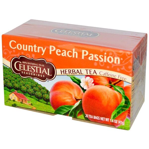 травяной чай, Country Peach Passion, без кофеина, 20 чайных пакетиков, 41 г (1,4 унции)
