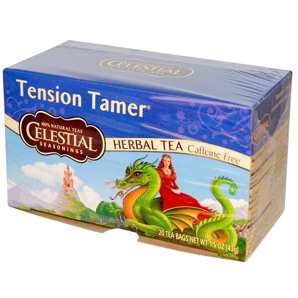 Травяной чай, устранение напряжения, без кофеина, 20 чайных пакетиков, 1.5 унций (43 г)