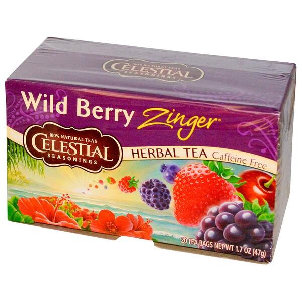 Травяной чай, Без кофеина, Лесная ягода Зингер, 20 чайных пакетиков, 1,7 унции (47 г)