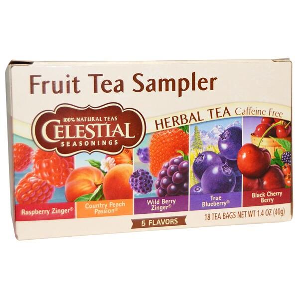 Celestial Seasonings, Fruit Tea Sampler, травяной чай, без кофеина, 5 вкусов, 18 чайных пакетиков, весом 40 г (1,4 унции) каждый