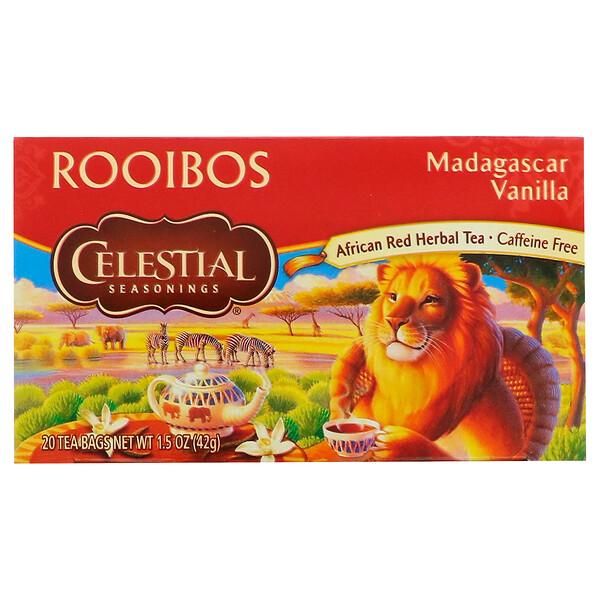 Чай ройбуш, мадагаскарская ваниль, без кофеина, 20 чайных пакетиков, 1.5 унц. (42 г)