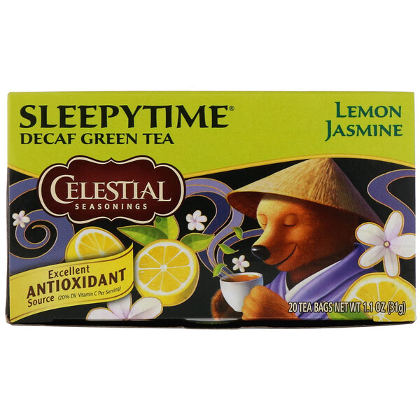 Sleepytime зеленый чай, лимон и жасмин, без кофеина, 20 чайных пакетиков, 31 г