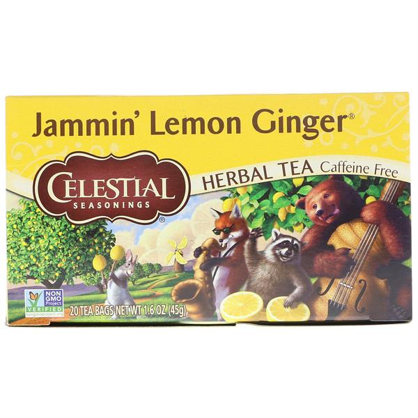 Celestial Seasonings, Травяной чай, Jammin, лимон и имбирь, без кофеина, 20 чайных пакетиков, 1,6 унции (45 гр) (Discontinued Item)