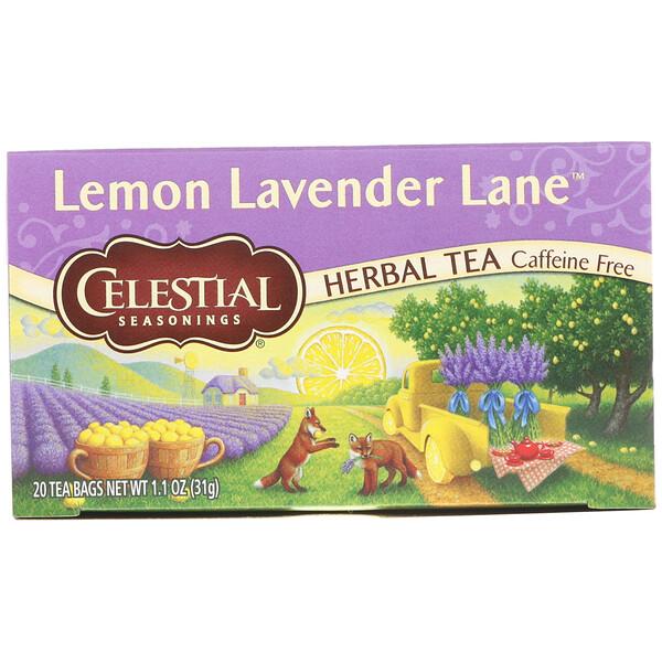 Травяной чай, лимонно-лавандовый путь, без кофеина, 20 чайных пакетиков, 1,1 унции (31 г)