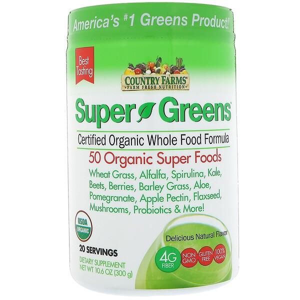 Super Greens, сертифицированная органическая формула из цельных продуктов, яркий натуральный вкус, 10,6 унц. (300 г)
