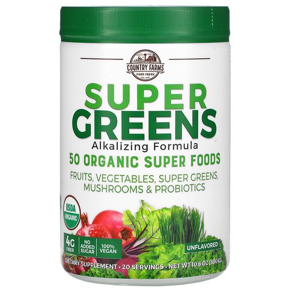 Super Greens, Alkalizing Formula, Unflavored, 10.6 oz (300 g)