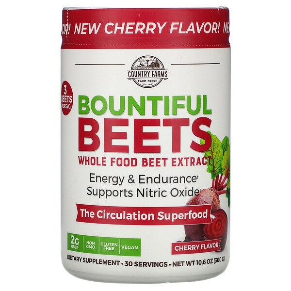 Country Farms, Bountiful Beets, Whole Food Beet Extract, Cherry Flavor, 10.6 oz (300 g)