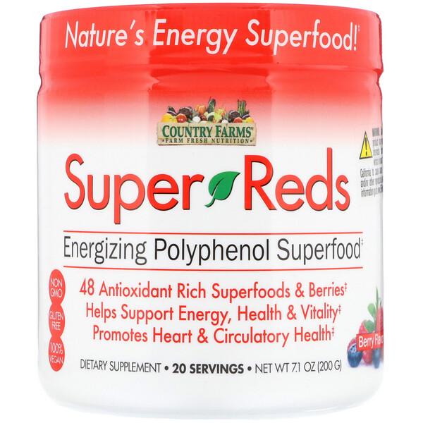 Super Reds, насыщающие энергией суперпродукты с полифенолами, со вкусом ягод, 7,1 унц. (200 г)
