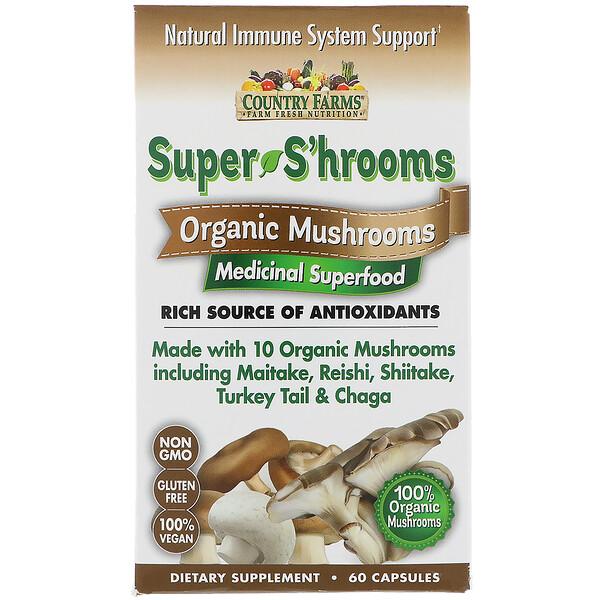 Super S'hrooms, органические грибы, лечебная суперпища, 60 капсул