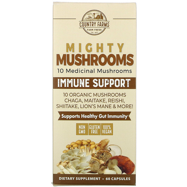 Country Farms, Mighty Mushrooms, Immune Support, 60 Capsules