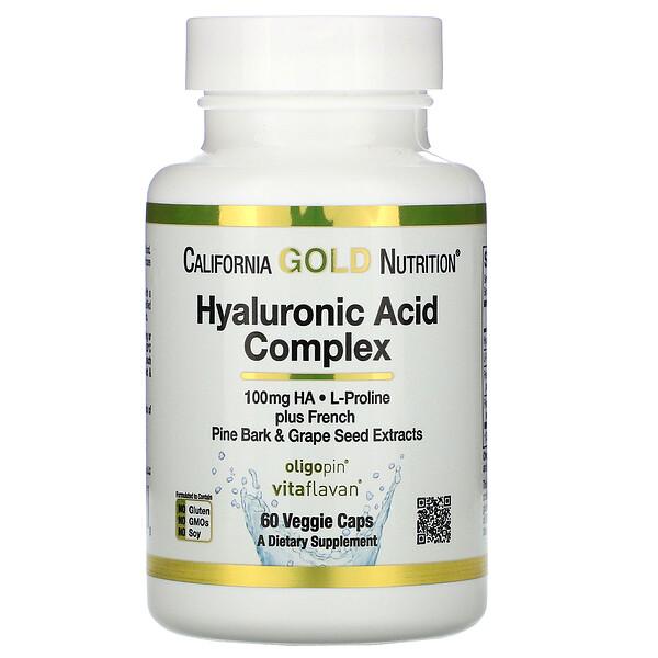 California Gold Nutrition, Комплекс с гиалуроновой кислотой, 60растительных капсул