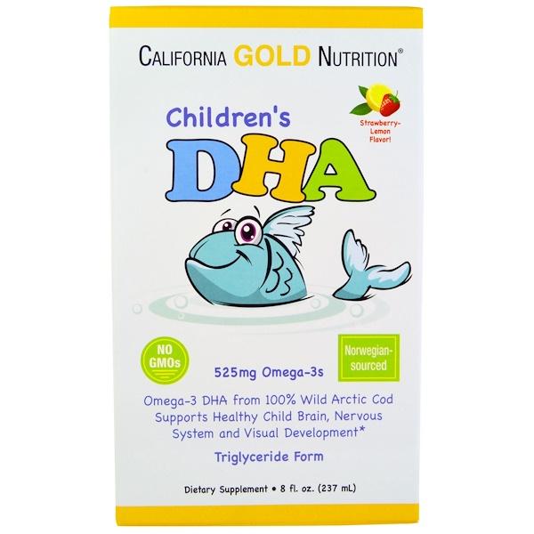 California Gold Nutrition, Детская ДГК со вкусом клубники и лимона, 525 мг омега-3, 8 жидких унций (237 мл) (Discontinued Item)