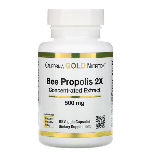 пчелиный прополис 2X, концентрированный экстракт, 500 мг, 90 растительных капсул