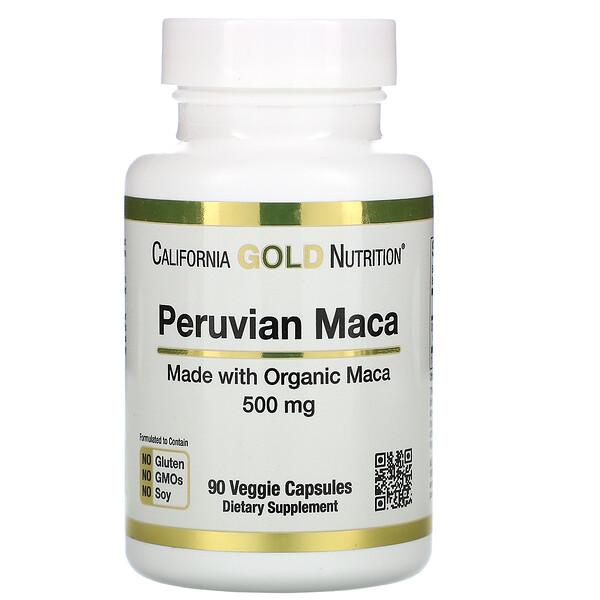 California Gold Nutrition, перуанская мака, 500мг, 90растительных капсул