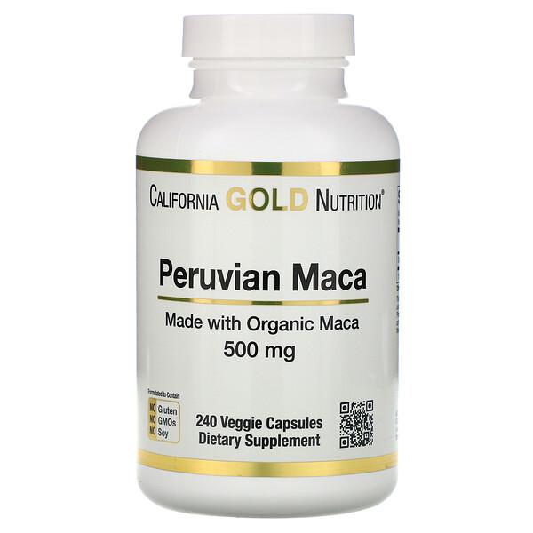 California Gold Nutrition, перуанская мака, 500мг, 240растительных капсул