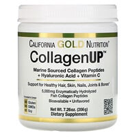 California Gold Nutrition, CollagenUP, морской коллаген, гиалуроновая кислота и витаминC, без ароматизаторов, 206г (7,26унции)