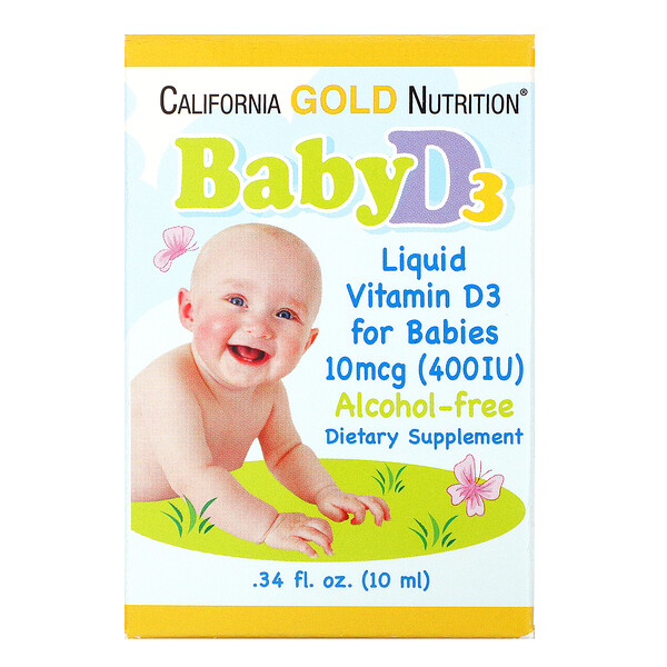 ВитаминD3 в каплях для детей, 400МЕ, 10мл (0,34жидк.унции)