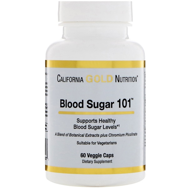 California Gold Nutrition, Целевая поддержка, Blood Sugar 101 (Уровень сахара в крови 101), 60 растительных капсул (Discontinued Item)