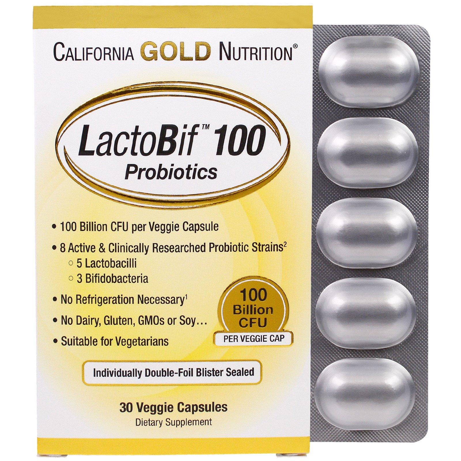 California Gold Nutrition, LactoBif, пробиотики, 100млрд КОЕ, 30растительных капсул