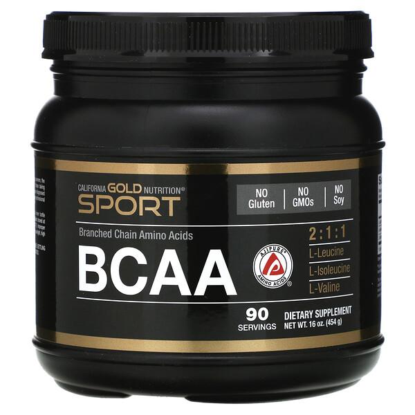 Порошок BCAA, AjiPure®, аминокислоты с разветвленными цепями, 454г (16унций)