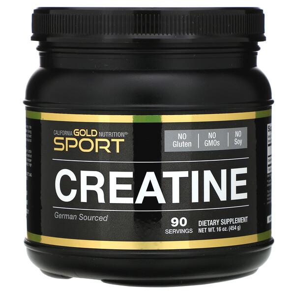 California Gold Nutrition, Creatine Powder, микронизированный моногидрат креатина, Creapure, без запаха, 16 унций (454 г)