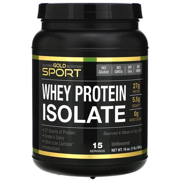 SPORT, изолят сывороточного протеина с нейтральным вкусом, 90% легкоусвояемый протеин быстрого всасывания, молочные продукты класса A от одного поставщика из штата Висконсин, США, 1фунт, 454г (16унций)