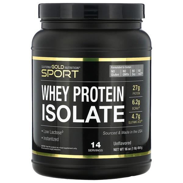 SPORT, изолят сывороточного протеина, без добавок, 90% протеина, быстрое всасывание, легкое усвоение, из молока классаA от одного поставщика из штата Висконсин, США, 454г (1фунт)