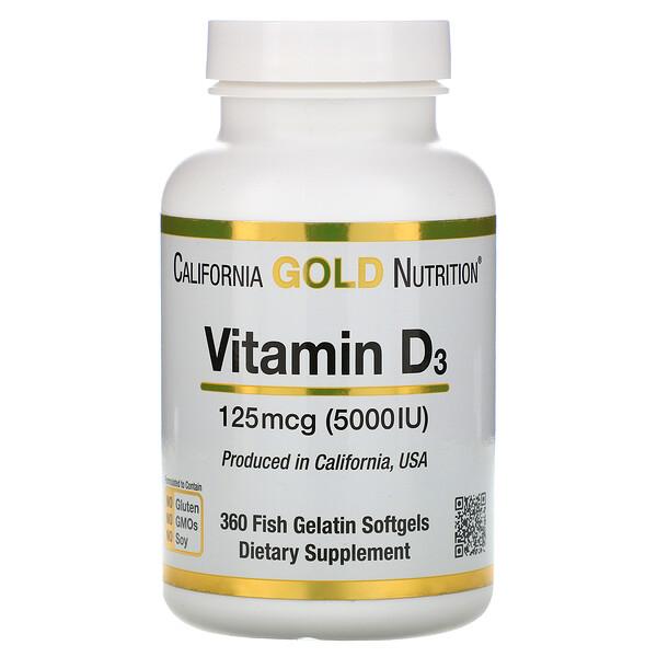 Витамин D3, 125мкг (5 000МЕ), 360рыбно-желатиновых капсул