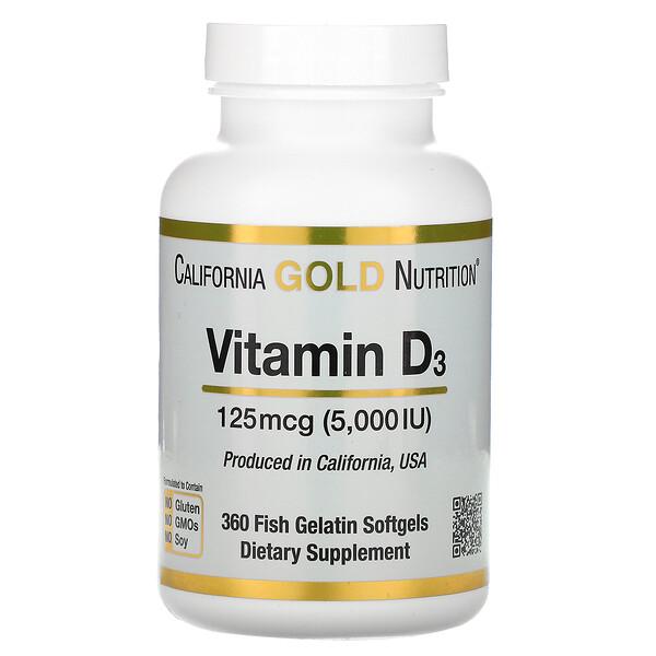 California Gold Nutrition, витаминD3, 125мкг (5000МЕ), 360капсул из рыбьего желатина