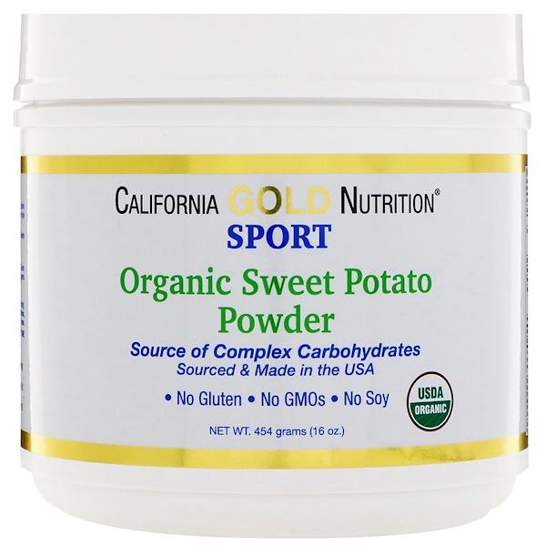 California Gold Nutrition, Органический порошок сладкого картофеля, сложные углеводы, без глютена, 16 унций (454 г) (Discontinued Item)