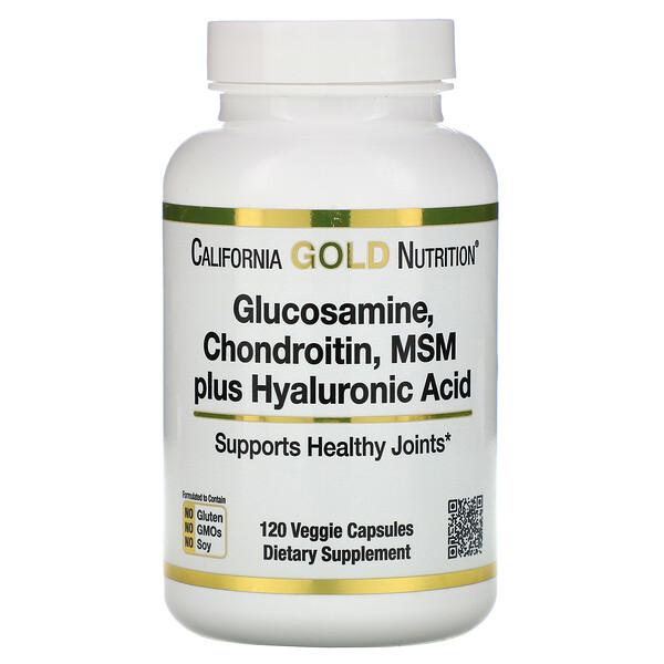 California Gold Nutrition, Глюкозамин, хондроитин и МСМ с гиалуроновой кислотой, 120растительных капсул