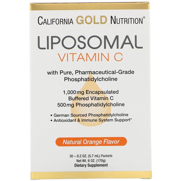 Липосомальный витаминC, с натуральным ароматизатором «Апельсин», 1000мг, 30пакетиков по 5,7мл (0,2унции) в каждом