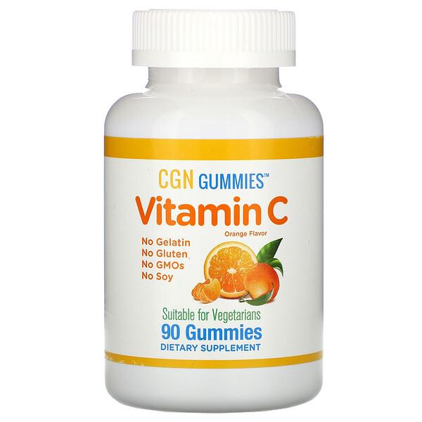 Жевательные таблетки с витаминомC, натуральный апельсиновый вкус, без желатина, 90жевательных таблеток