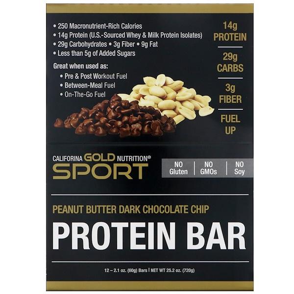 California Gold Nutrition, Protein Bar, арахисовое масло с кусочками темного шоколада, без глютена, 12 батончиков, 2,1 унции (60 г) каждый (Discontinued Item)