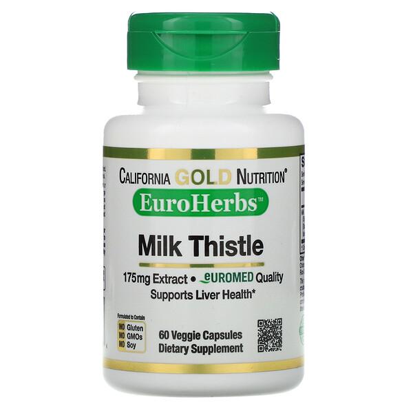 EuroHerbs, Milk Thistle Extract, 80% Silymarin, 175 mg, 60 Veggie Caps