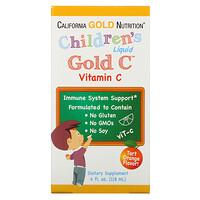 California Gold Nutrition, GoldC, витаминC в жидкой форме для детей, класса USP, натуральный апельсиновый вкус, 118мл (4жидк.унции)