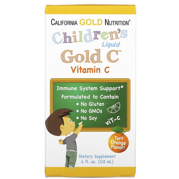 GoldC, витаминC в жидкой форме для детей, класса USP, натуральный апельсиновый вкус, 118мл (4жидк.унции)