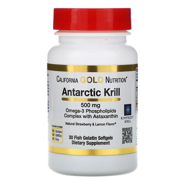 California Gold Nutrition, RIMFROST, масло антарктического криля, с астаксантином, натуральный клубнично-лимонный вкус, 500мг, 30рыбно-желатиновых мягких таблеток
