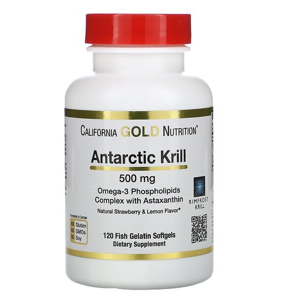 масло антарктического криля RIMFROST с астаксантином, натуральный клубнично-лимонный вкус, 500мг, 120рыбно-желатиновых мягких таблеток