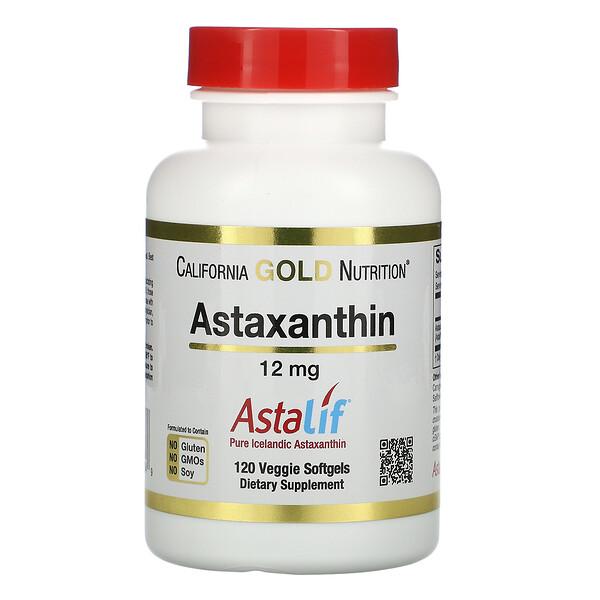 Астаксантин, чистый исландский AstaLif, 12мг, 120растительных мягких таблеток