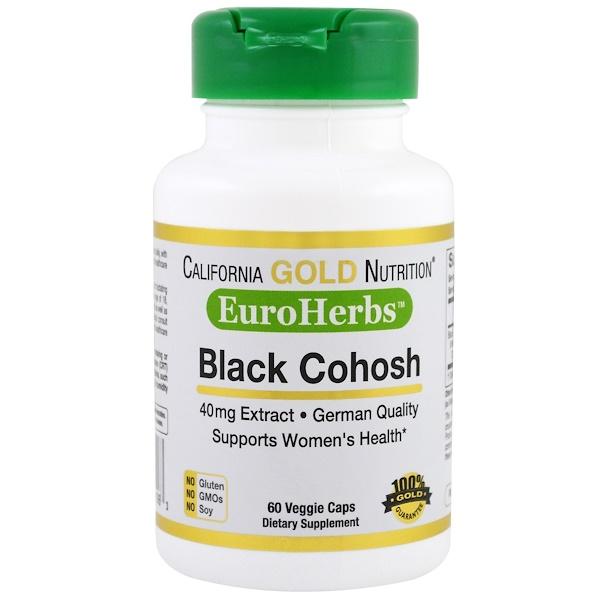 California Gold Nutrition, Экстракт клопогона кистевидного, 40 мг, 60 растительных капсул (Discontinued Item)