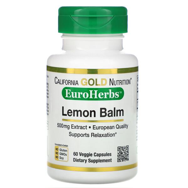 Экстракт мелиссы, европейское качество, 500 мг, 60 растительных капсул