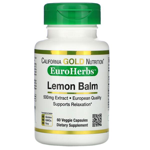 California Gold Nutrition, экстракт мелиссы, европейское качество, 500мг, 60растительных капсул (Discontinued Item)